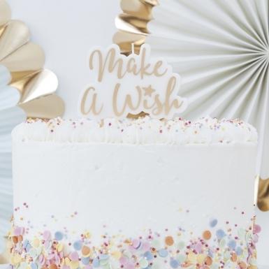 Bougie sur pique Make a Wish doré métallisé 8 x 11 cm-1