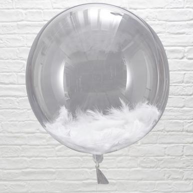 3 Ballons géants avec plumes blanches 45 cm-1