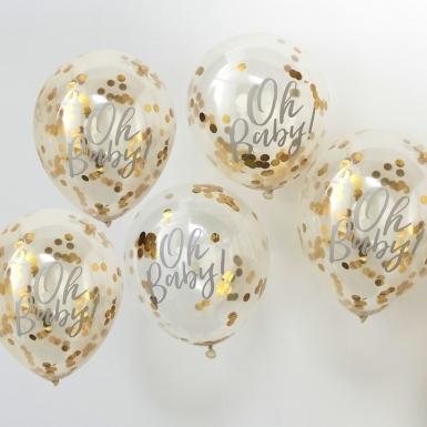 5 Ballons Oh Baby transparents à confettis doré métallisé 30 cm-1