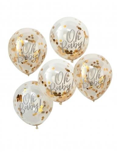 5 Ballons Oh Baby transparents à confettis doré métallisé 30 cm