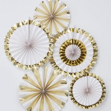 5 Rosaces à suspendre blanc et doré métallisé 38 cm et 28 cm-1