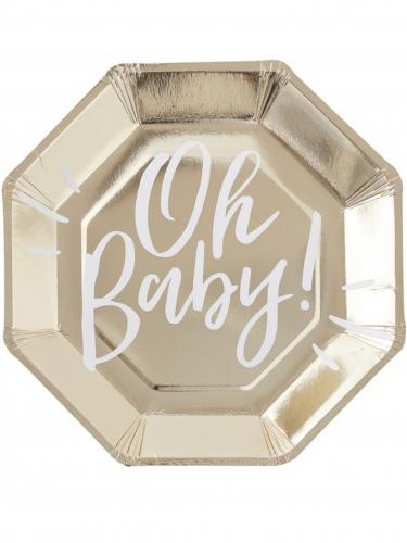8 Assiettes en carton Oh Baby ! octogonales 25 cm