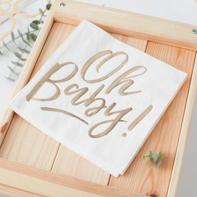 16 Serviettes en papier Oh Baby ! 33 x 33 cm-1