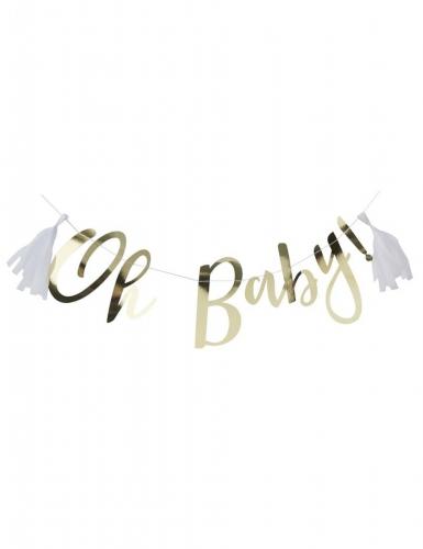 Guirlande en lettres avec tassels blancs Oh Baby ! doré métallisé 1,5 m
