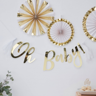 Guirlande en lettres avec tassels blancs Oh Baby ! doré métallisé 1,5 m-1