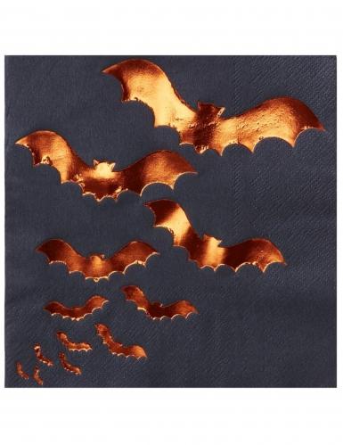 20 Serviettes en papier noires Chauve-souris orange métallisé 33 x 33 cm
