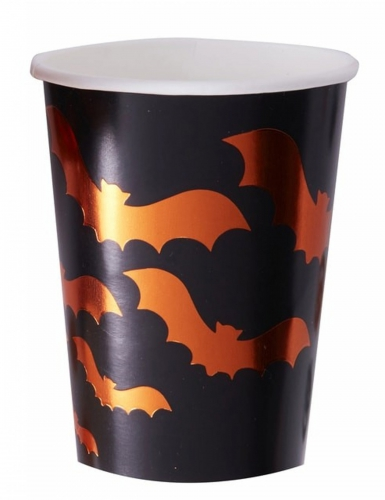 8 Gobelets en carton noirs Chauve-souris orange métallisé 26 cl