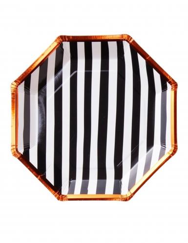 8 Assiettes en carton à rayures Halloween 23 cm