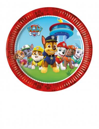 8 Petites assiettes en carton rouges Pat'Patrouille ™ 20 cm