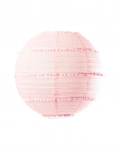 Lanterne avec pompons rose 35 cm