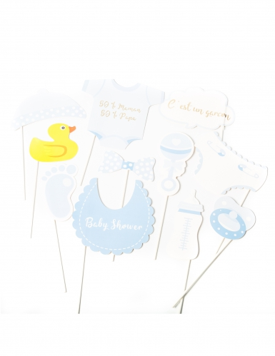Kit photobooth Baby Shower garçon 11 pièces