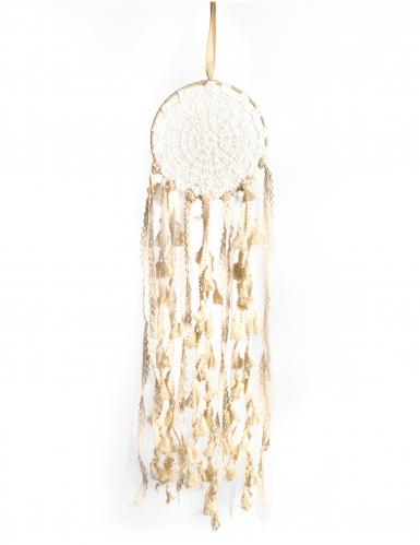 Attrape rêves en dentelle et pompons ivoire 15 x 50 cm