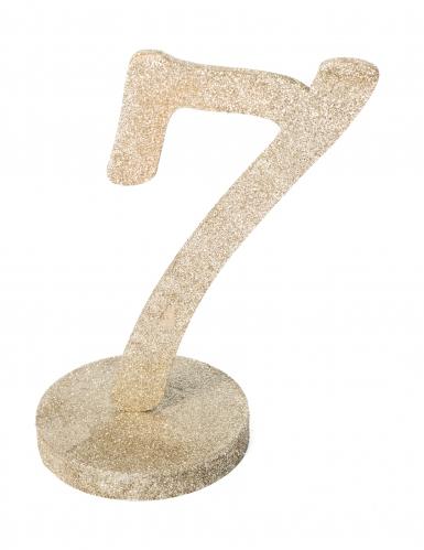 Centre de table chiffre 7 bois pailleté champagne 20 cm