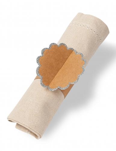 8 Ronds de serviette marron paillettes argentées 23 x 7 cm