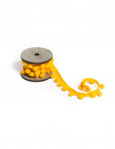 Ruban pompons jaunes 2,2 cm x 2 m