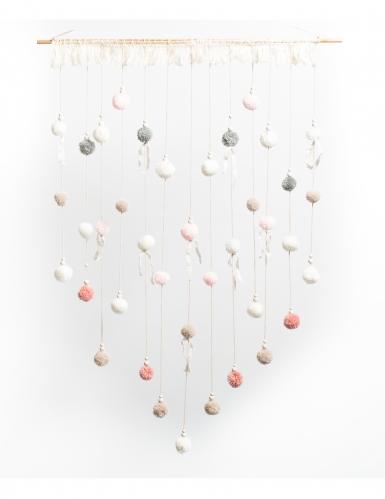 Tenture de pompons rose, gris et blanc 70 x 95 cm