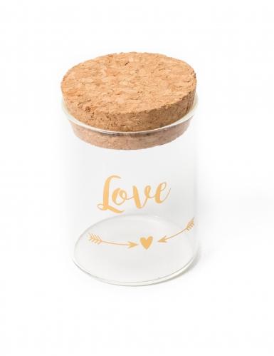 Fiole en verre avec bouchon en liège Love doré 4,5 x 6 cm