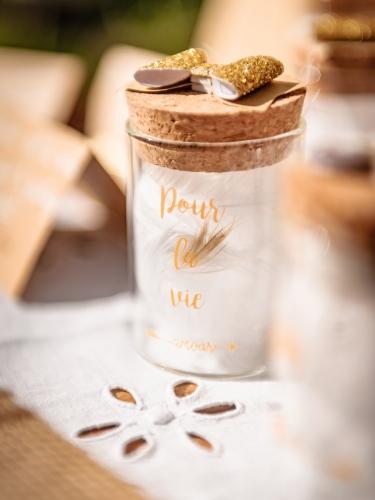 Fiole en verre avec bouchon en liège Pour La Vie doré 4,5 x 6 cm-1