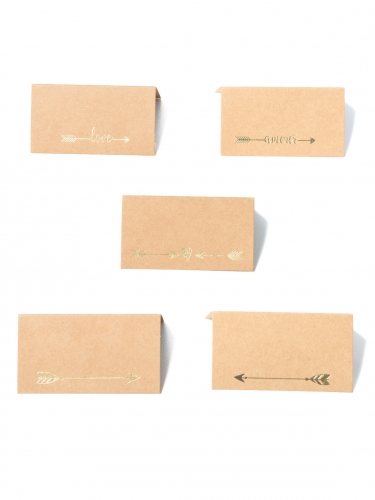 10 Marques places kraft Love doré avec 5 motifs 9 x 5 cm-1