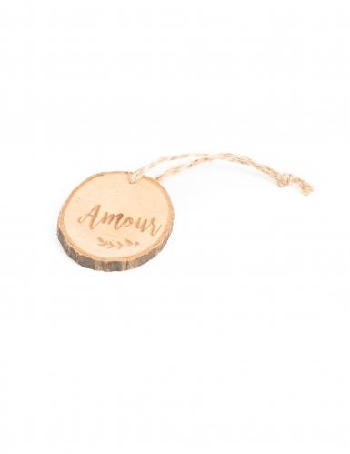 4 Rondins de bois Amour avec liens en ficelle 4 cm