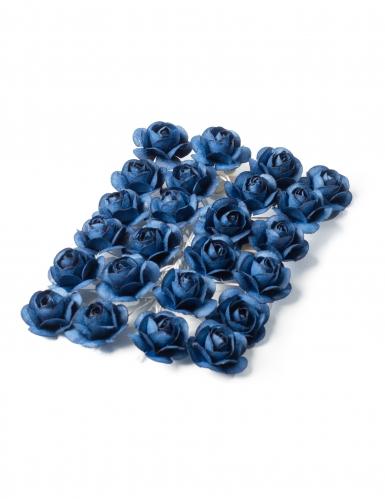 24 Mini roses bleu marine sur tige 2,1 cm