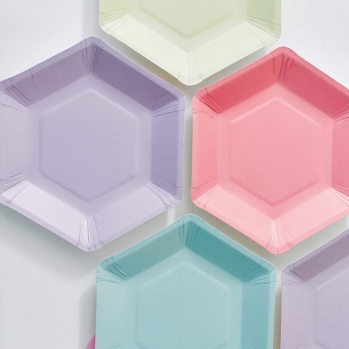12 Petites assiettes en carton hexagonales 6 couleurs pastel 18 cm-1