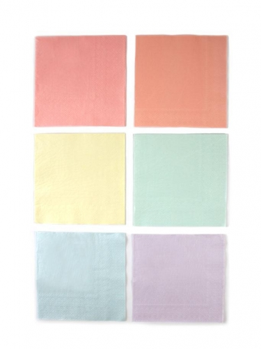 16 Serviettes en papier 6 couleurs pastels 33 x 33 cm-1