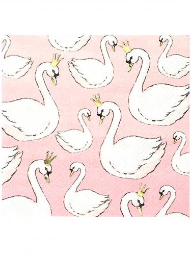 16 Petites serviettes en papier Cygne rose poudré 25 x 25 cm