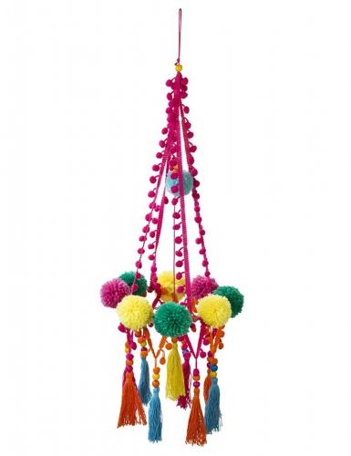 Chandelier en pompons Boho Mix multicolore 60 cm