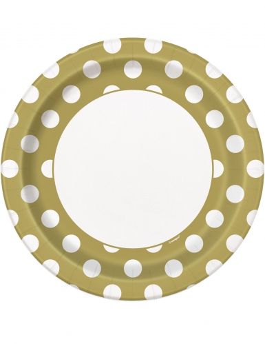 8 Assiettes en carton dorées à pois blancs 23 cm