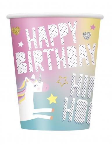 8 Gobelets en carton Happy Birthday Licorne Party 266 ml