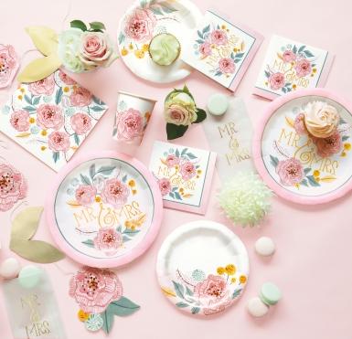 8 Petites assiettes en carton Mr & Mrs florales roses et blanches 18 cm-1