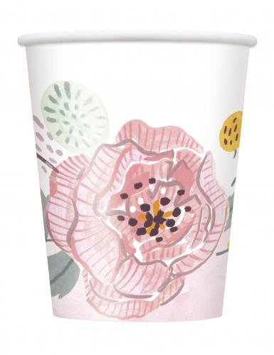8 Gobelets en carton Mr & Mrs florales roses et blanches 266 ml