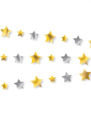 Guirlande en papier étoiles dorées et argentées 2,74 m