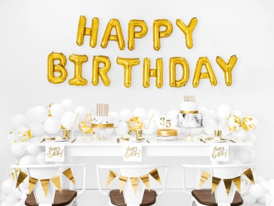Ballons aluminium lettres Happy Birthday doré 35 cm-1