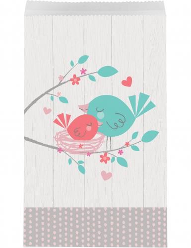 10 Sacs cadeaux en papier Hello Baby gris 19 x 11 cm