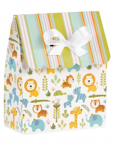 12 Sacs cadeaux Jungle rayés multicolores avec ruban 9 x 11,5 x 3,3 cm