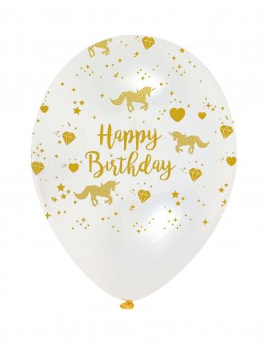 6 Ballons en latex Happy Birthday Licorne doré 30 cm