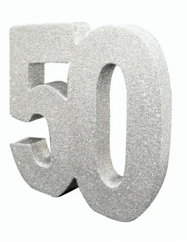 Décoration de table 50 ans argent pailleté 20 x 20 cm