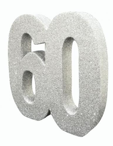 Décoration de table 60 ans argent pailleté 20 x 20 cm