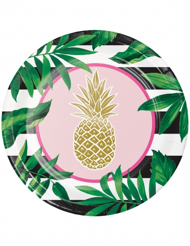 8 Assiettes en carton Ananas doré 25 cm