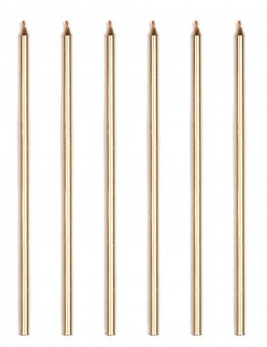 16 Bougies géantes doré métallique 18 cm