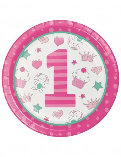 8 Assiettes en carton 1er anniversaire rose 22 cm