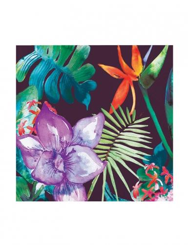 24 Petites serviettes en papier Fleurs Tropicales 25 x 25 cm