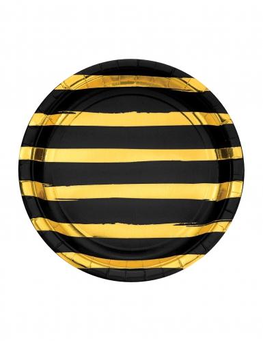 8 Assiettes en carton noires et dorées rayées 23 cm