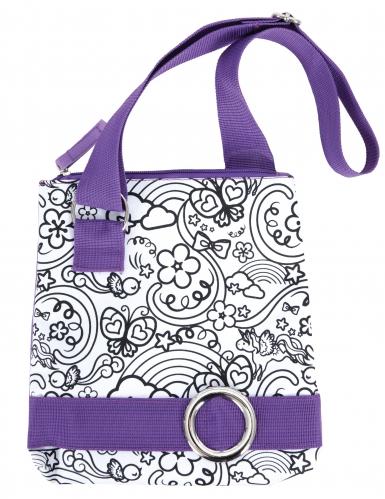Sac à bandoulière lavable à colorier violet avec 2 marqueurs-1