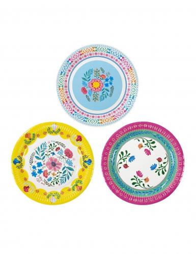 8 Assiettes en carton Florales 3 designs 23 cm