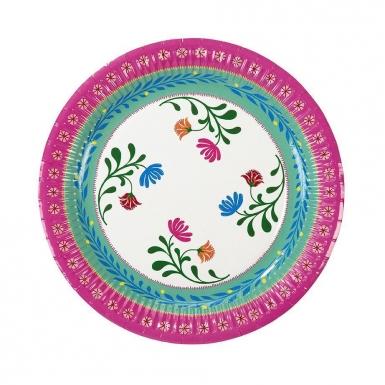8 Assiettes en carton Florales 3 designs 23 cm-1