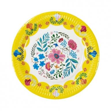 8 Assiettes en carton Florales 3 designs 23 cm-2