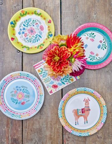 8 Assiettes en carton Florales 3 designs 23 cm-4